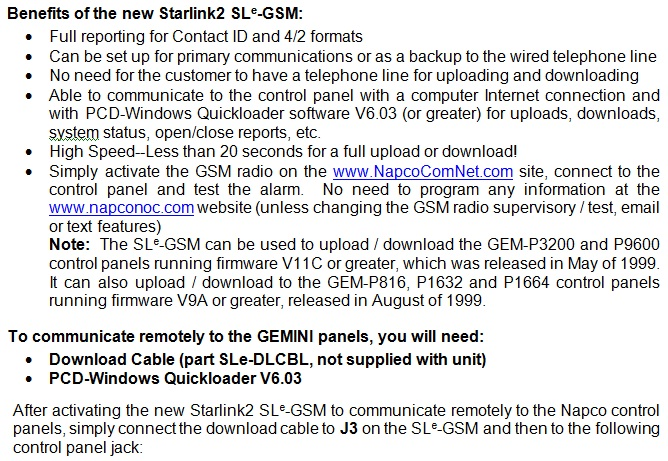 Uploading and Downloading Napco Gemini Control Panels with the new Starlink2 SLe GSM 1 napco technical library gem-p1632 wiring diagram at eliteediting.co
