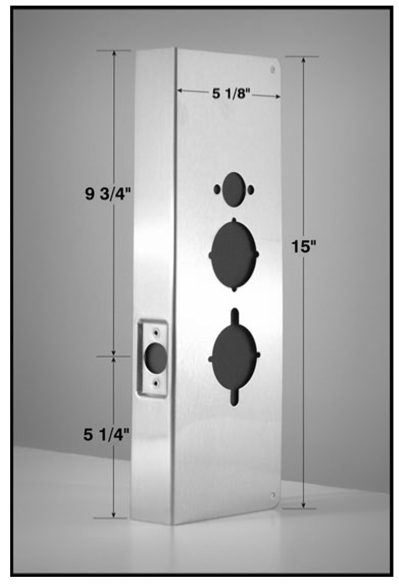 ... (stainless steel wrap-around plate shown below) to cover damage wrong holes or convert a mortise lock door prep to a cylindrical-style installation on ...  sc 1 st  NAPCO Technical Library & NAPCO Technical Library